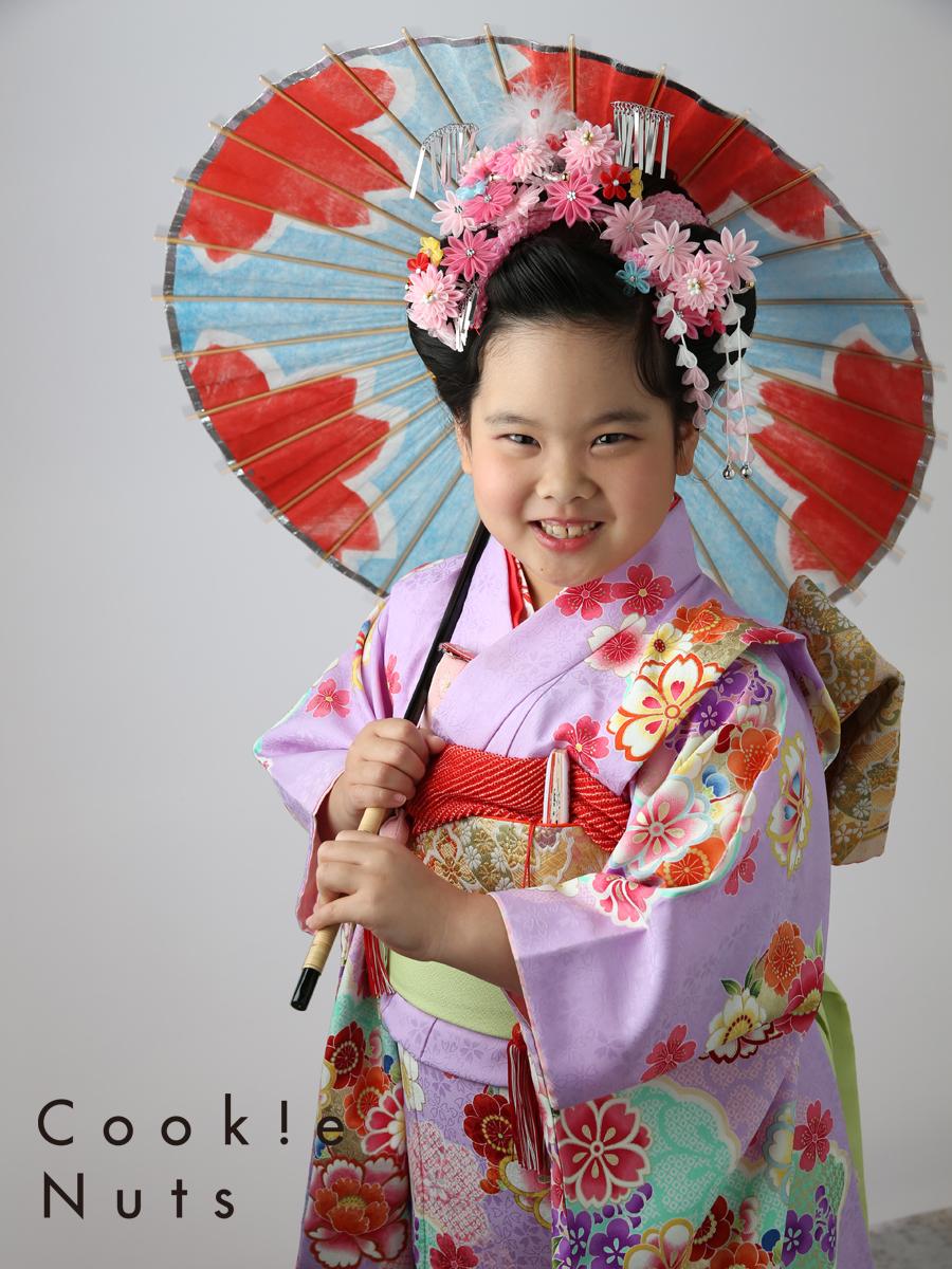 七五三 7歳 着物 日本髪 傘